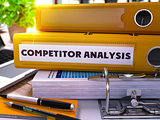 Yellow Office Folder with Inscription Competitor Analysis.