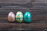 Traditional Easter eggs on wooden backgorund