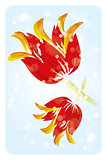 Big watercolor tulip flowers