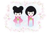 Kokeshi dolls and cherry blossoms