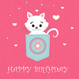 pretty little white cat vector illustration