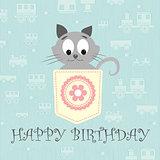 pretty little gray kitty vector illustration