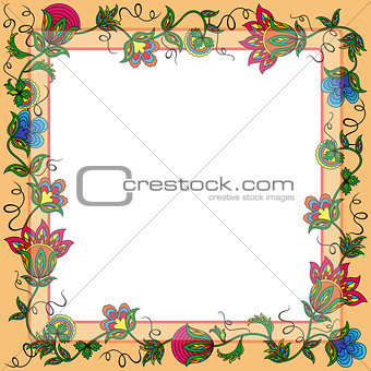 Postcard with wreath of colorful flowers