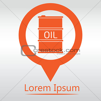 Oil Barrel icon or sign, vector illustration. map pin icon