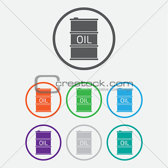Oil Barrel icon or sign, vector illustration. color icon with frame