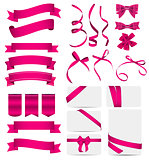 Pink Ribbon and Bow Set. Vector illustration