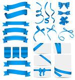 Blue Ribbon and Bow Set. Vector illustration