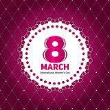 Women's Day Greeting Card 8 March in Retro Vintage Style Vector
