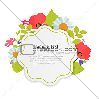 Abstract Natural Frame with Flowers and Leaves