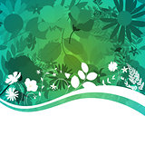 Abstract Natural Spring Background with Flowers and Leaves.