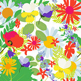 Abstract Natural Spring Seamless Pattern Background with Flowers