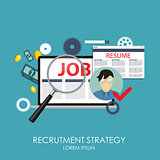 Recrutment Strategy Business Concept. External and International