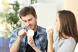 Couple enjoying and suffering diet
