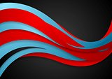 Abstract blue red corporate wavy background