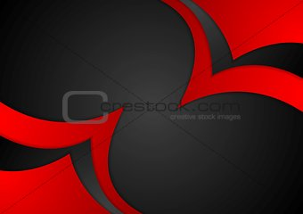 Abstract red black wavy corporate background
