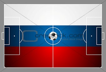 Bright soccer background with ball. Russian colors football field