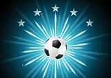Abstract soccer background with ball and stars