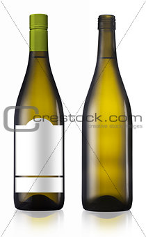 Chardonnay burgundy white wine bottle