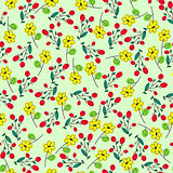 green seamless summer patter with yellow  flowers as chamomile and  rosehip