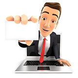 3d businessman coming out of laptop with a business card