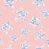 Vector seamless colorful stars pattern. Rose Quartz and Serenity colors