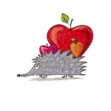 hedgehog bears apples