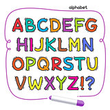 Cartoon Colorful Doodle Alphabet