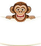 Cartoon bearded monkey holding a blank sheet of paper