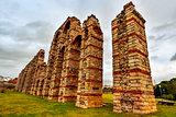 roman aqueduct Acueducto de los Milagros in Merida, Spain