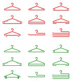 Set of plastic clothes hangers. Shaded and silhouette.