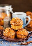 Fresh homemade delicious pumpkin muffins