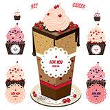 Cute cupcakes set