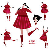 Set of woman motions in red