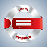 Metallic login screen with red ribbon design