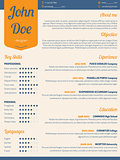 Modern resume cv with orange ribbon