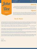 Modern cover letter resume cv with orange ribbon
