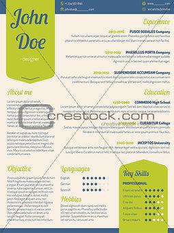 Modern resume cv with green ribbon