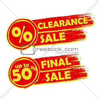 clearance and final sale with percent and 50 percentage signs, d