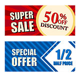 50 percent off discount super sale and special offer half price,