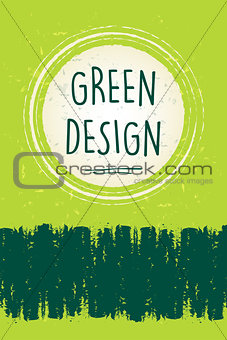 green design in circle over green old paper background