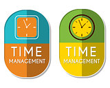 time management with clock signs, two elliptical labels