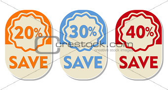 20, 30, 40 percent off save, three elliptical labels