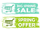 big spring sale and offer with shopping cart signs, green drawn