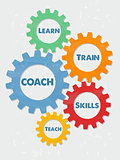coach, learn, train, skills, teach in grunge flat design gears