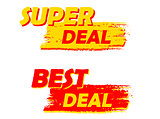 super and best deal, yellow and red drawn labels