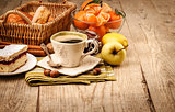Morning breakfast with coffee and fruits
