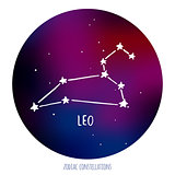 Leo vector sign. Zodiacal constellation made of stars on space background.