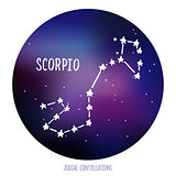Scorpio vector sign. Zodiacal constellation made of stars on space background.