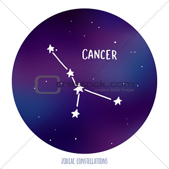 Cancer vector sign. Zodiacal constellation made of stars on space background.