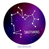 Sagittarius vector sign. Zodiacal constellation made of stars on space background.